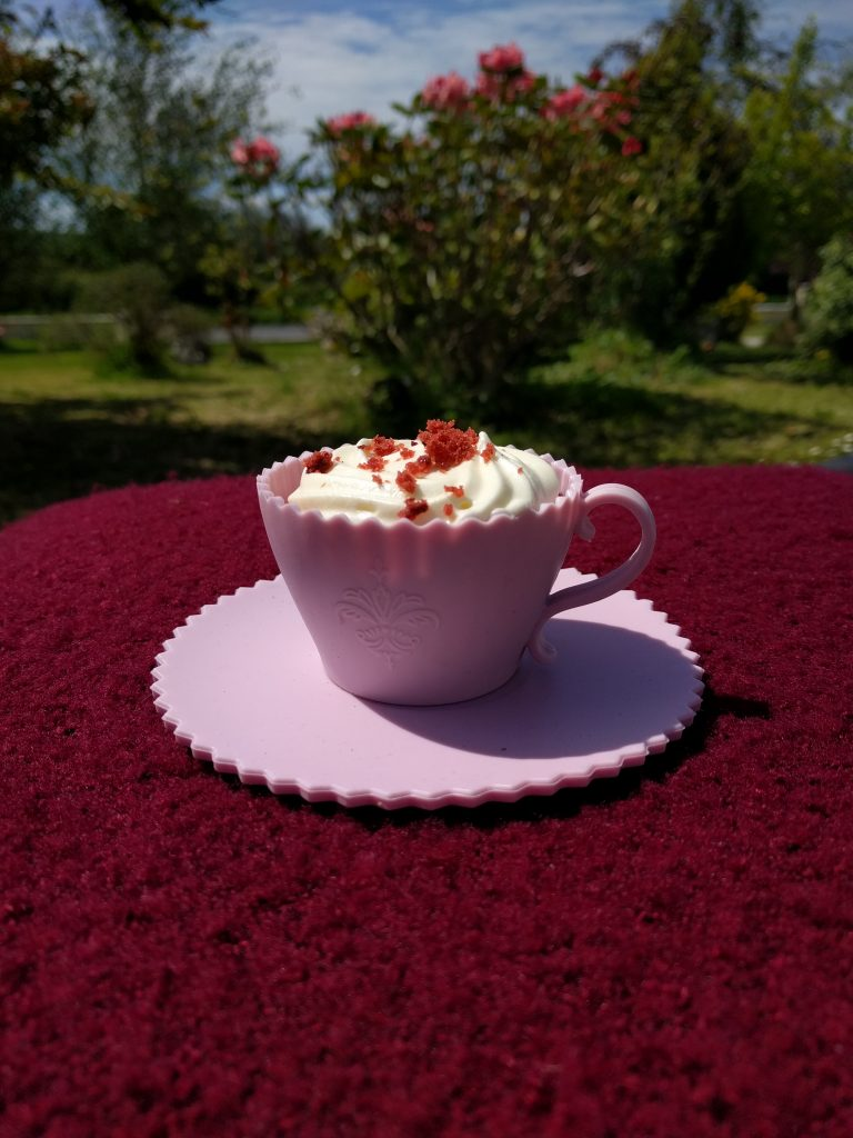 Red velvet cupcake in a teacup